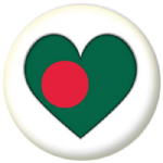 Bangladesh Country Flag Heart 25mm Pin Button Badge